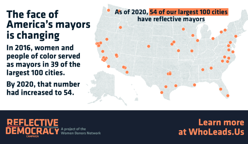 Map showing location of 54 cities with reflective mayors