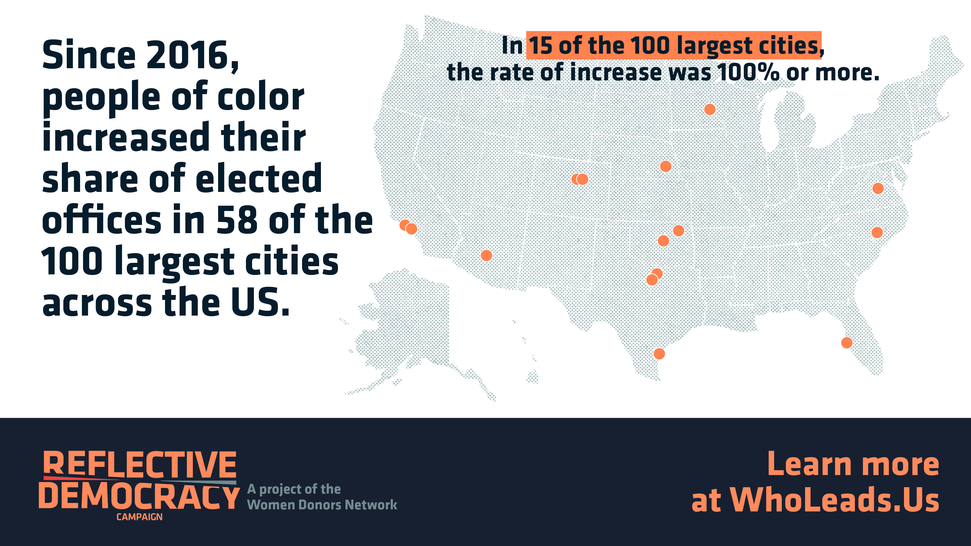 Map showing 35 cities where people of color increased their share of elected offices 100% or more.