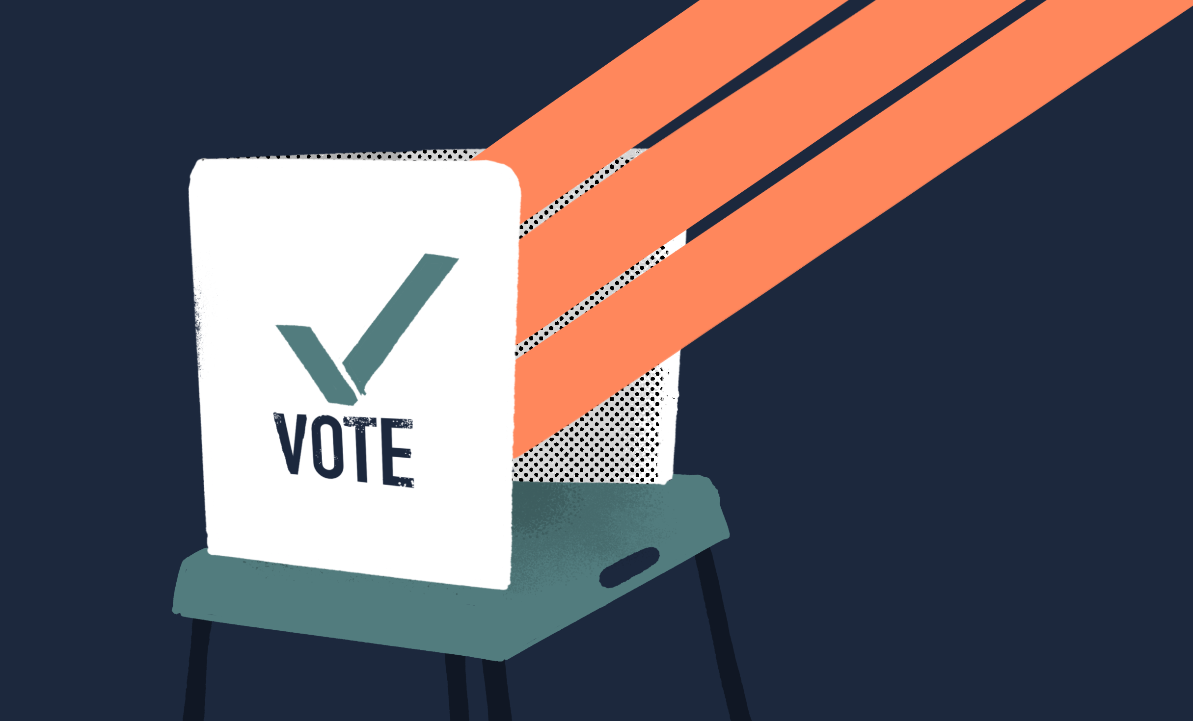 A voting privacy shield with three orange beams eminating out.